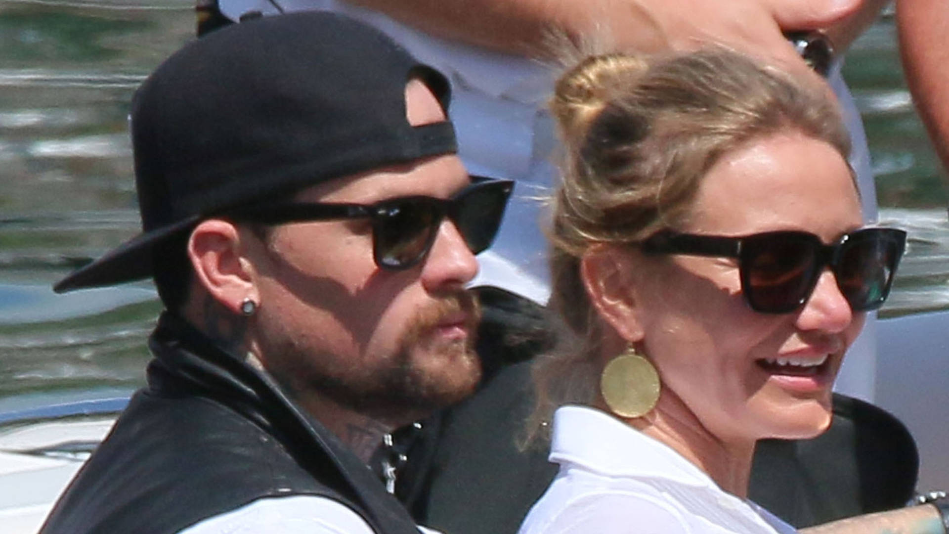 Cameron Diaz & Benji Madden Stepping Off Their Yacht In France