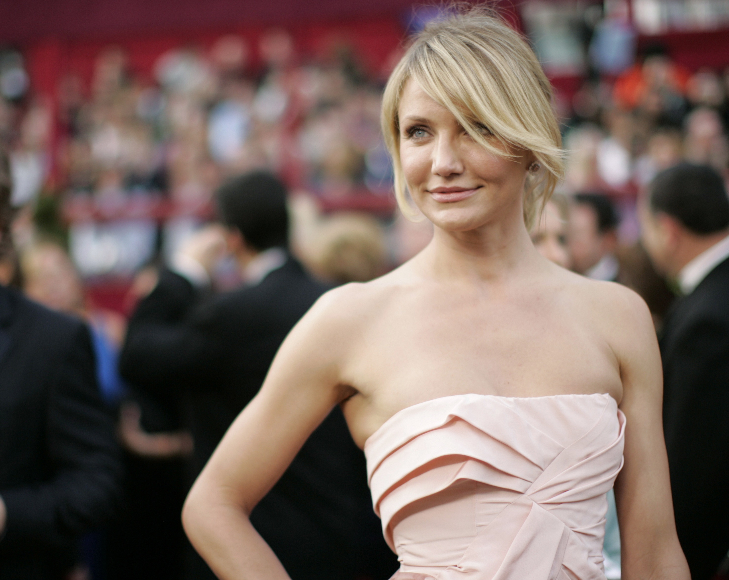 Actress Cameron Diaz poses at the 80th annual Academy Awards in Hollywood