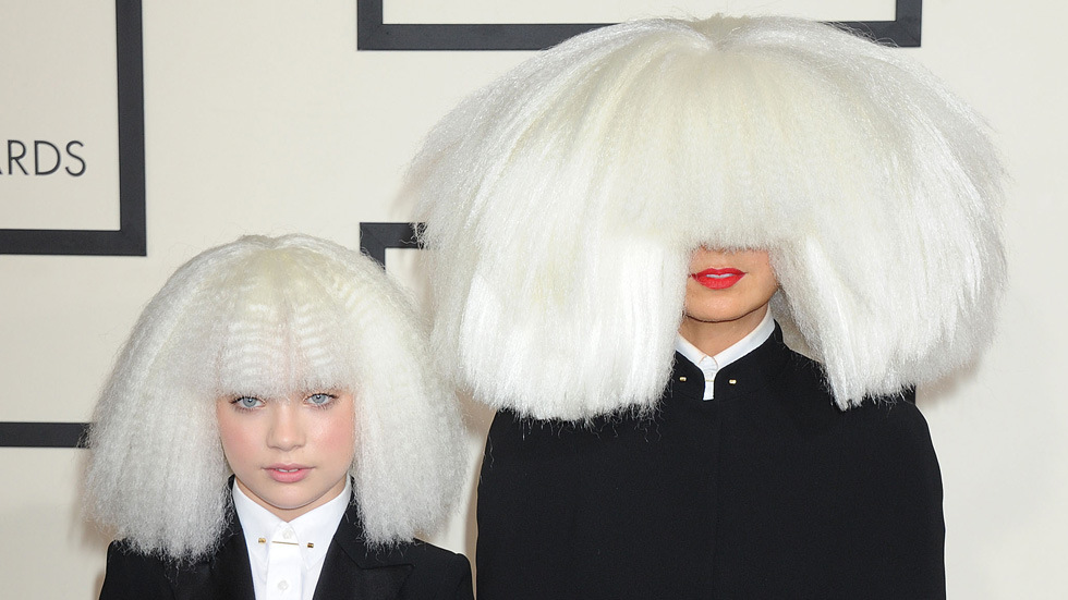 NO JUST JARED USAGE The 57th Annual GRAMMY Awards. **NO DAILY MAIL SALES** Pictured: Sia and Maddie Ref: SPL946660 090215 Picture by: Splash News Splash News and Pictures Los Angeles: 310-821-2666 New York: 212-619-2666 London: 870-934-2666 photodesk@splashnews.com