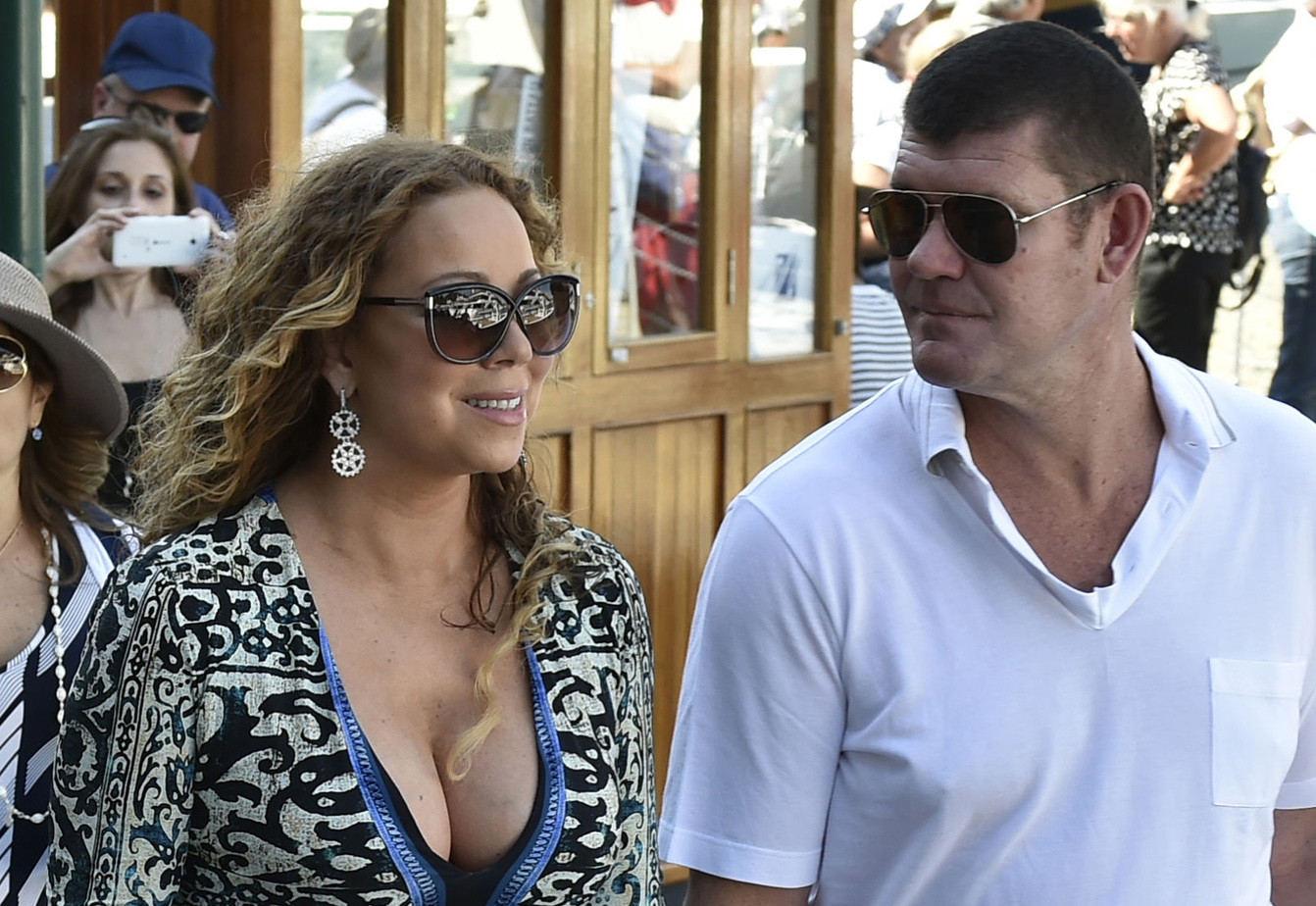 **USA ONLY** Portofino, Italy - Songstress Mariah Carey and her new beau, James Packer, appear to be enjoying each other's company as they take in the sights in beautiful Portofino. The two have been spotted cruising the Mediterranean coastline on the billionaire businessman's boat and have spend their days relaxing and shopping around town. AKM-GSI June 26, 2015 **USA ONLY** To License These Photos, Please Contact : Steve Ginsburg (310) 505-8447 (323) 423-9397 steve@akmgsi.com sales@akmgsi.com or Maria Buda (917) 242-1505 mbuda@akmgsi.com ginsburgspalyinc@gmail.com