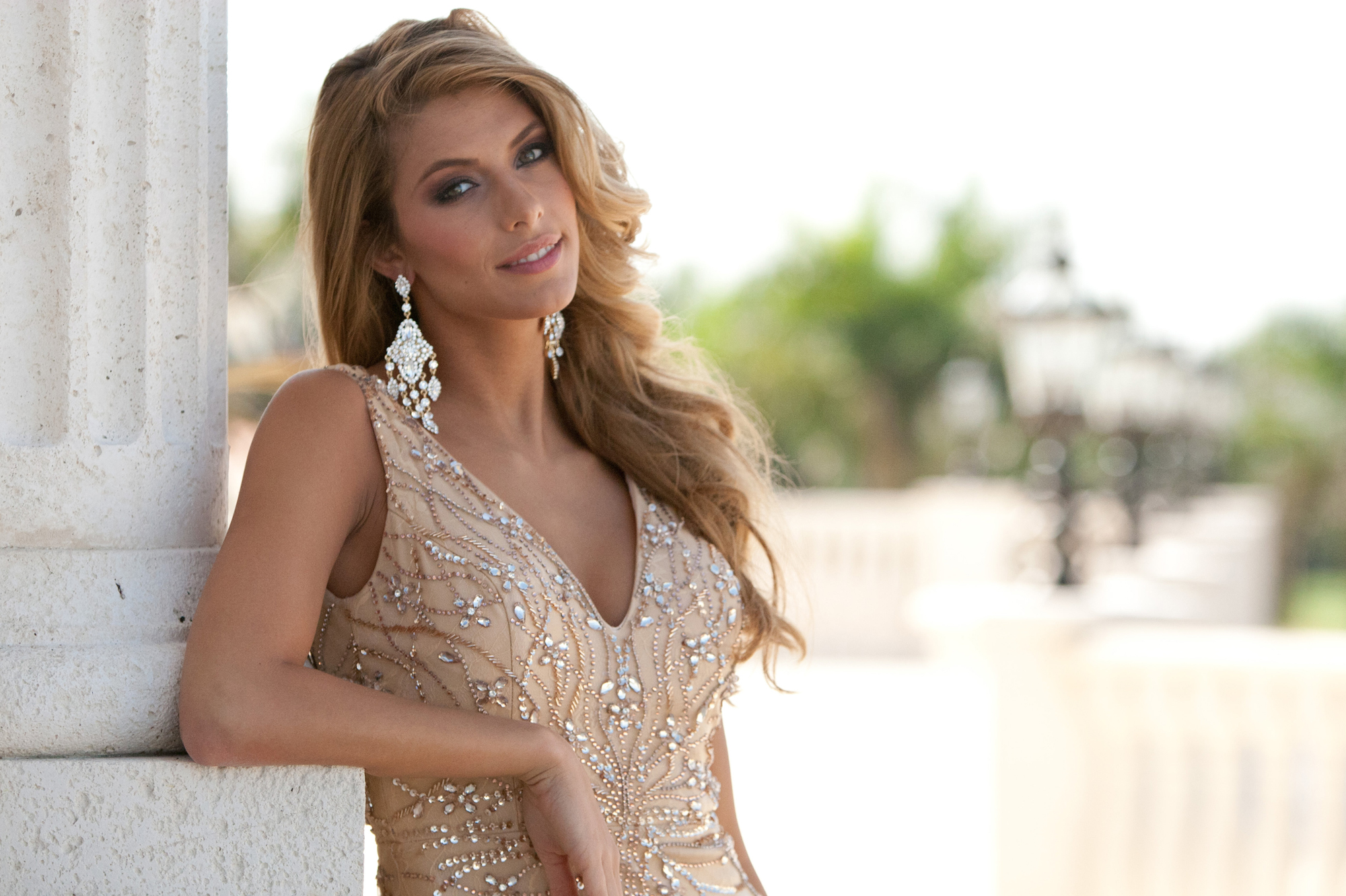 Jan 7, 2015 - Doral-Miami, Florida, U.S. - CAMILLE CERF, Miss France 2014, poses for photographs at the Trump National Doral Miami. The Miss Universe contestants are touring, filming, rehearsing and preparing to compete for the DIC Crown.