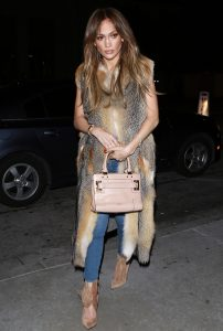 Jennifer Lopez arrives to Catch in Los Angeles, California wearing a long sleeveless fur coat and jeans. Drake entered via the garage. Moments before Jennifer entered the restaurant on January 17, 2017. she and her driver were pulled over for an illegal u-turn by Los Angeles County Sheriffs. Pictured: Jennifer Lopez Ref: SPL1423740 170117 Picture by: TwisT Splash News and Pictures Los Angeles:310-821-2666 New York: 212-619-2666 London: 870-934-2666 photodesk@splashnews.com