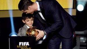 cristiano_ronaldo_accepts_one_of_his_award_with_son