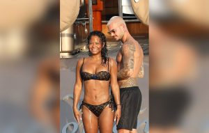 ** RIGHTS: ONLY UNITED STATES, CANADA ** Saint-Tropez, FRANCE  - French singer M. Pokora (Matt Pokora) kisses his new girlfriend Christina Milian on a yacht in St Tropez. The brunette babe wore a Louis Vuitton black two-piece bikini showing off her curves! She rinsed down after taking a dip in the ocean before packing on the PDA. Pictured: Christina Milian, Matt Pokora BACKGRID USA 24 AUGUST 2017  BYLINE MUST READ: Best Image / BACKGRID USA: +1 310 798 9111 / usasales@backgrid.com UK: +44 208 344 2007 / uksales@backgrid.com *UK Clients - Pictures Containing Children Please Pixelate Face Prior To Publication*