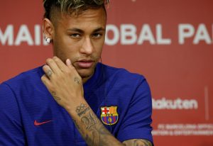 FC Barcelona player Neymar attends a news conference to announce the sponsorship deal between the team and Japanese e-commerce operator Rakuten Inc. in Tokyo, Japan July 13, 2017.