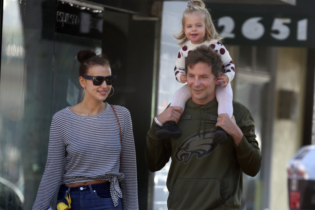 EXCLUSIVE: Bradley Cooper took his daughter and wife to the farmers Market in Santa Monica, CA. The couple shopped for greens and sat on the benches before leaving with groceries in hand. 18 Nov 2018 Pictured: Bradley Cooper, Lea De Seine Shayk and Irina Shayk. Photo credit: DD / MEGA TheMegaAgency.com +1 888 505 6342 (Mega Agency TagID: MEGA309796_001.jpg) [Photo via Mega Agency]